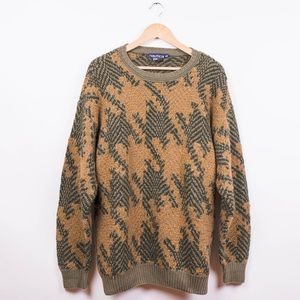Vintage olive houndstooth chunky oversized sweater